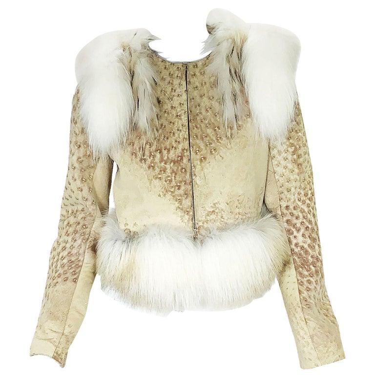New Yves Saint Laurent Ostrich Shearling Fox Rabbit Fur Jacket It 40 - US 4 For Sale