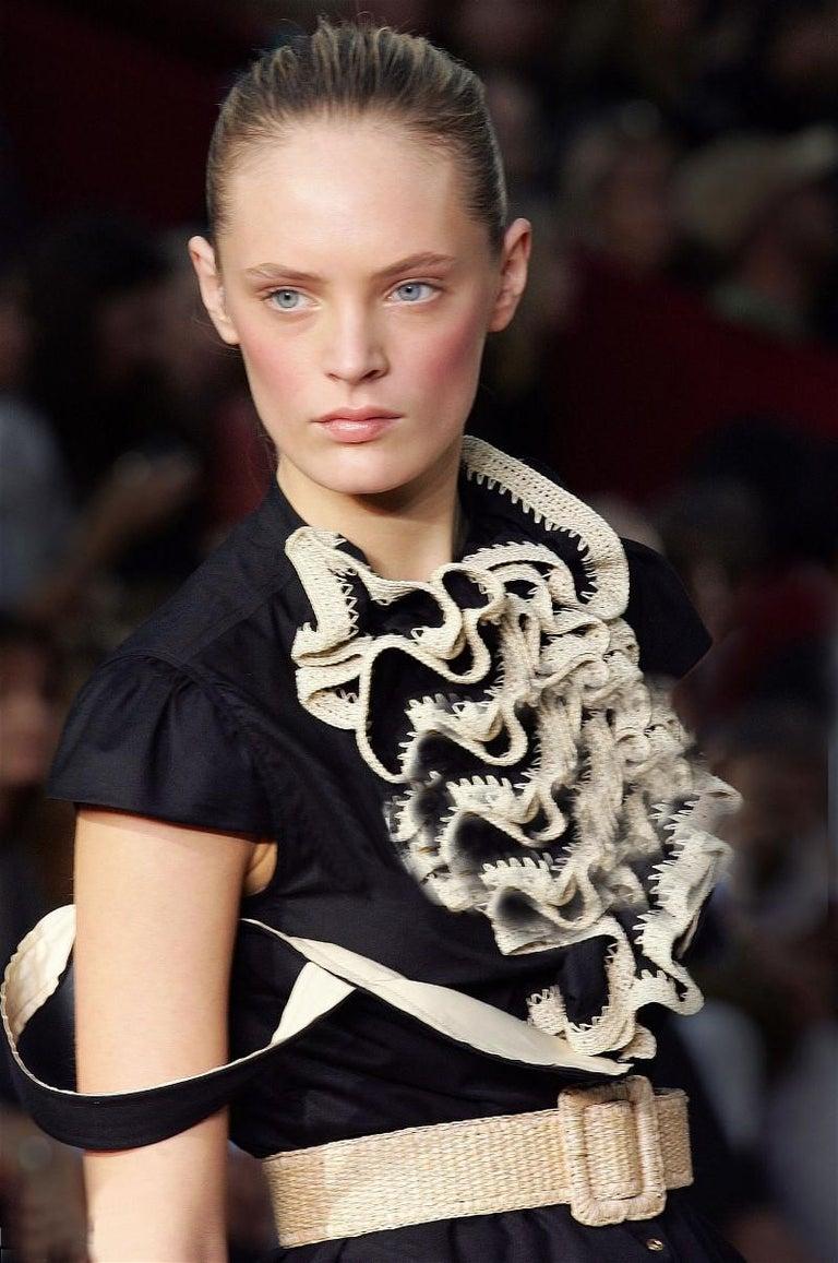 New Yves Saint Laurent S/S 2006 AD Runway Crochet Ruffle Blouse Top Sz 42  For Sale 2