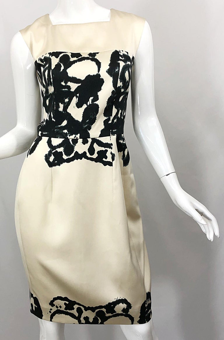 New Yves Saint Laurent Size 42 / 8-10 Ivory and Black Abstract Print Silk Dress For Sale 6