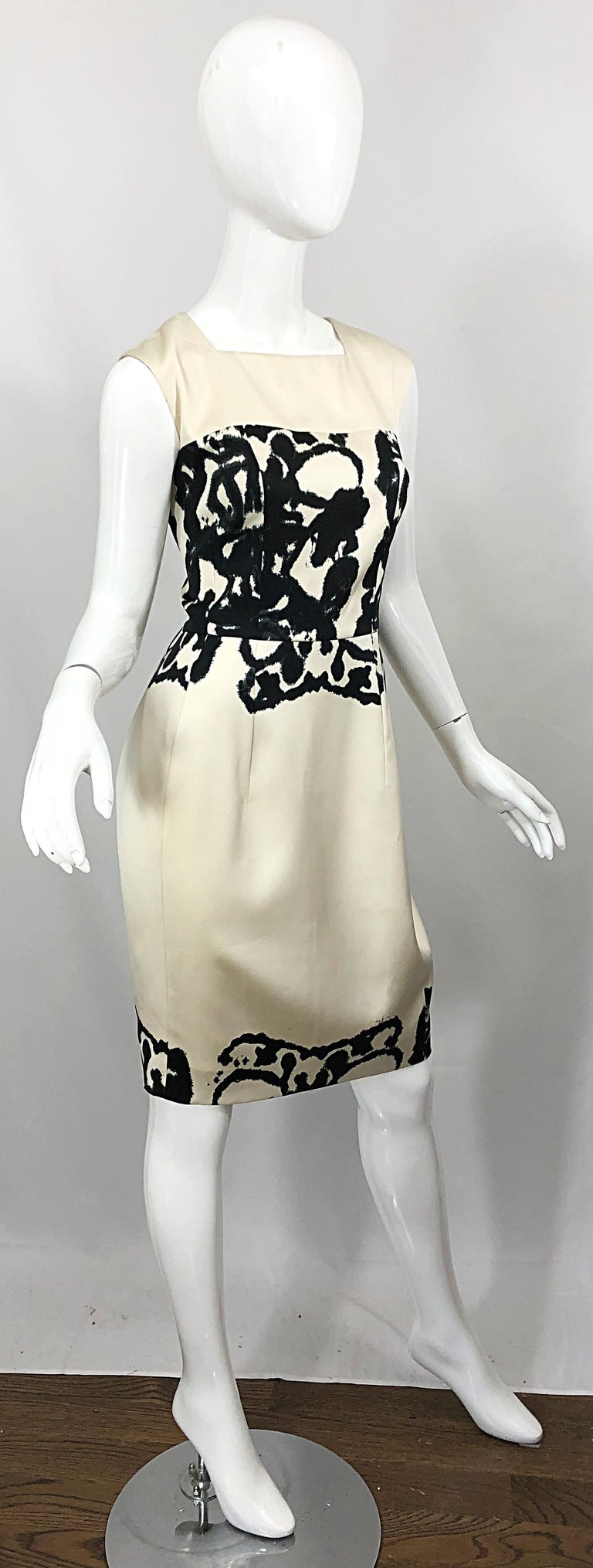 New Yves Saint Laurent Size 42 / 8-10 Ivory and Black Abstract Print Silk Dress For Sale 9
