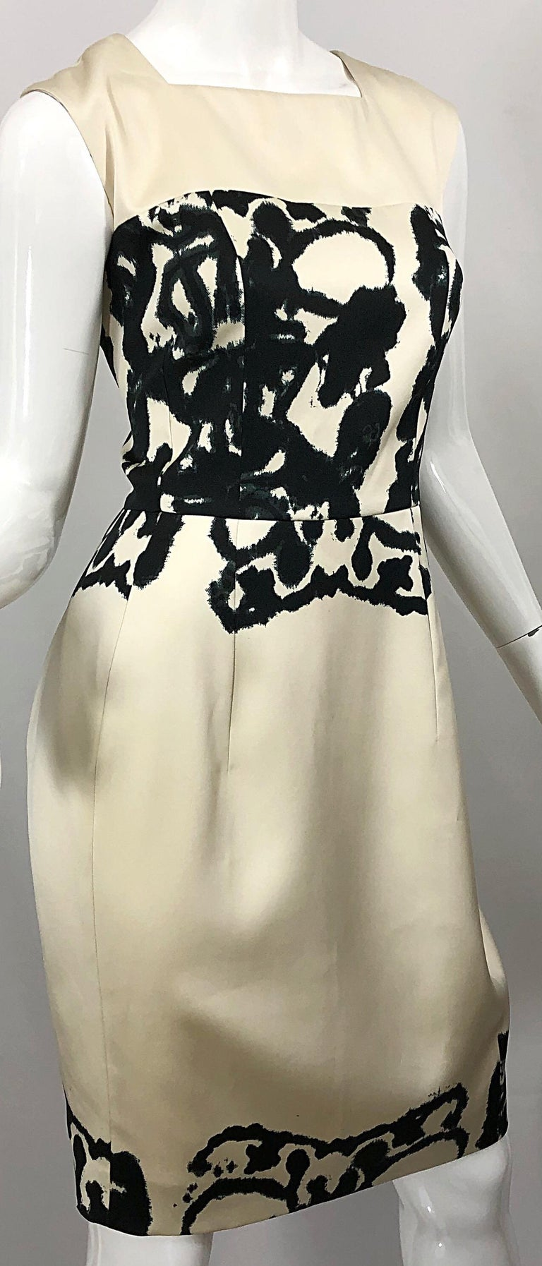New Yves Saint Laurent Size 42 / 8-10 Ivory and Black Abstract Print Silk Dress For Sale 5