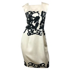 New Yves Saint Laurent Size 42 / 8-10 Ivory and Black Abstract Print Silk Dress