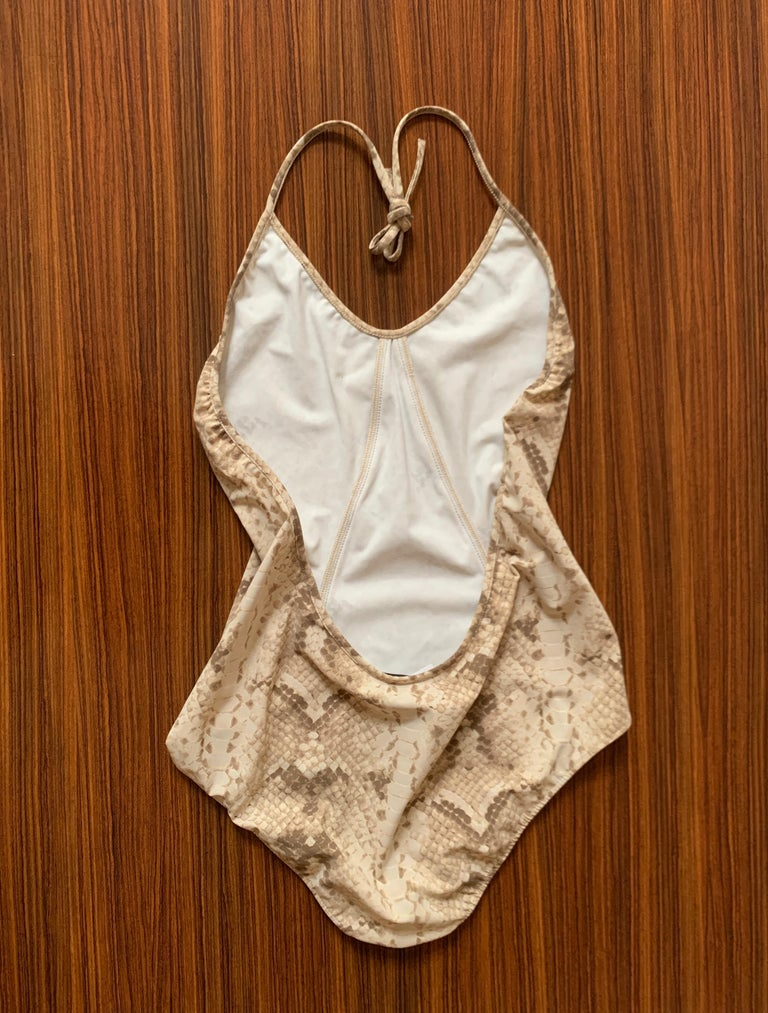 New Yves Saint Laurent Snake Print One Piece Halter Swimming Suit Bathing Suit  In New Condition For Sale In San Francisco, CA
