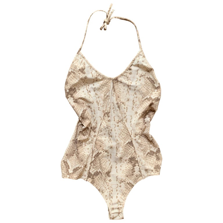 New Yves Saint Laurent Snake Print One Piece Halter Swimming Suit Bathing Suit  For Sale