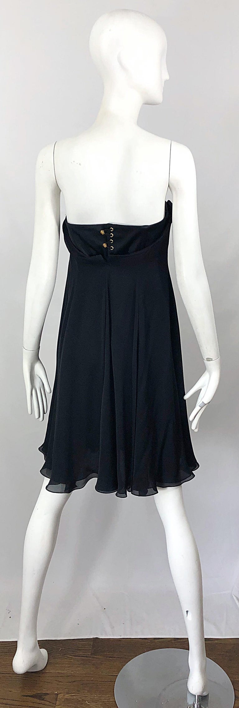 New Yves Saint Laurent Spring 2008 Size 40 / US 8 Black Silk Strapless Dress In New Condition For Sale In Chicago, IL