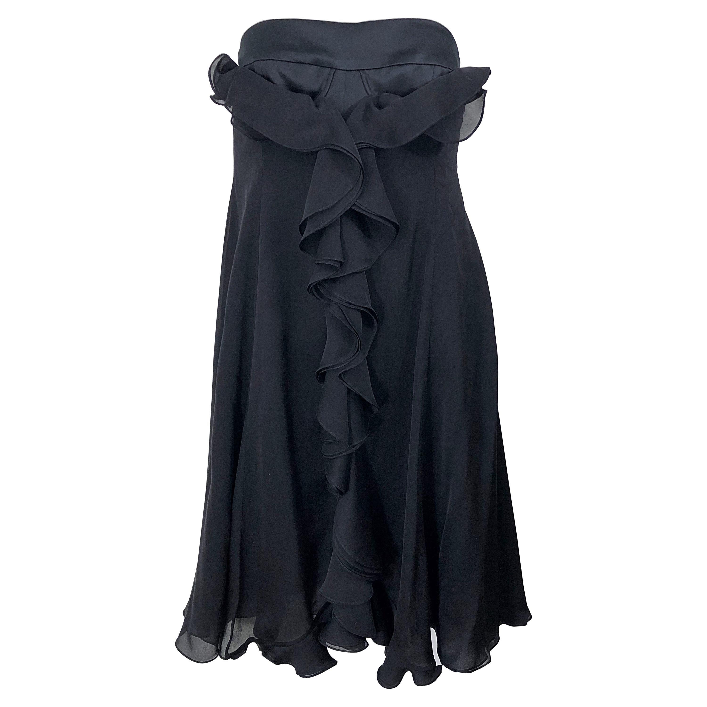New Yves Saint Laurent Spring 2008 Size 40 / US 8 Black Silk Strapless Dress
