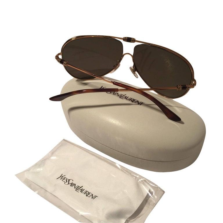New Yves Saint Laurent YSL Aviator Swarovski Crystal Sunglasses With Case For Sale 5