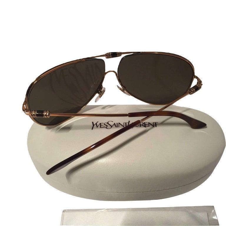 New Yves Saint Laurent YSL Aviator Swarovski Crystal Sunglasses With Case For Sale 6
