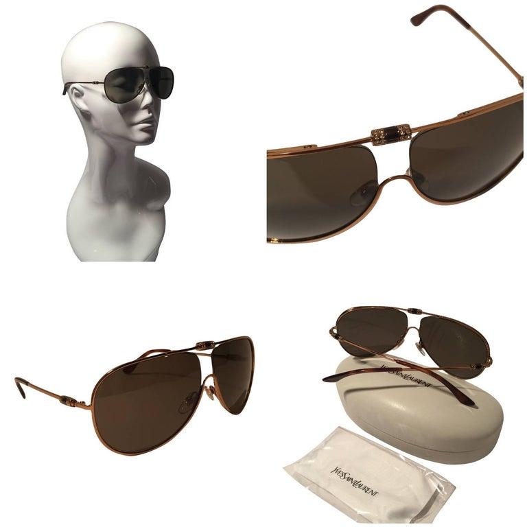 Beige New Yves Saint Laurent YSL Aviator Swarovski Crystal Sunglasses With Case For Sale