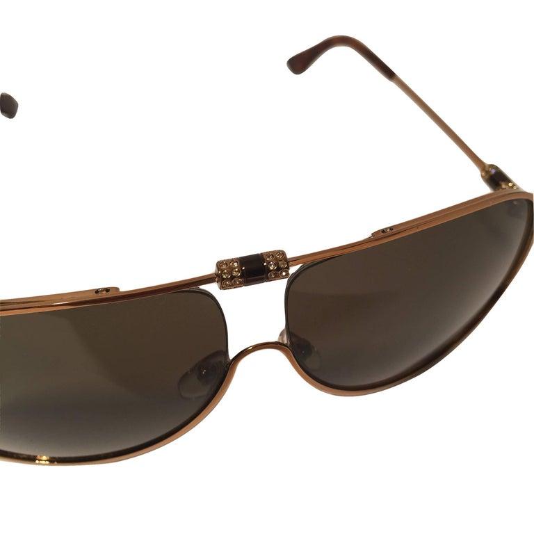 New Yves Saint Laurent YSL Aviator Swarovski Crystal Sunglasses With Case For Sale 2