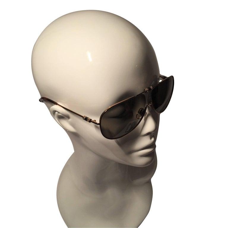 New Yves Saint Laurent YSL Aviator Swarovski Crystal Sunglasses With Case For Sale 4