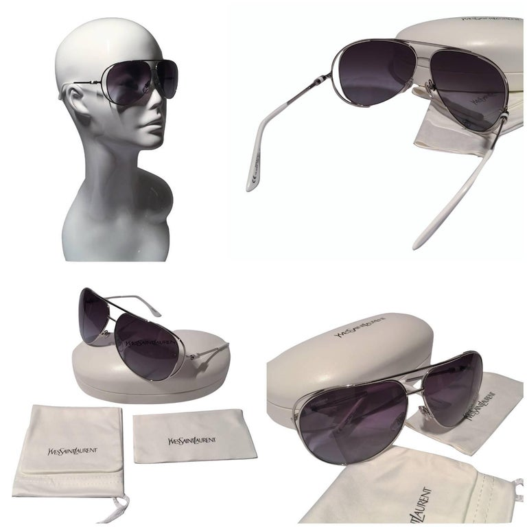 Gray New Yves Saint Laurent YSL Aviator Sunglasses  With Case For Sale