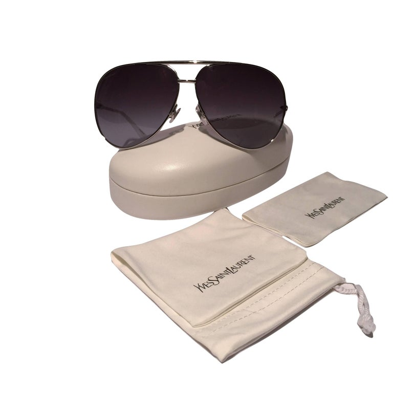 Women's New Yves Saint Laurent YSL Aviator Sunglasses  With Case For Sale