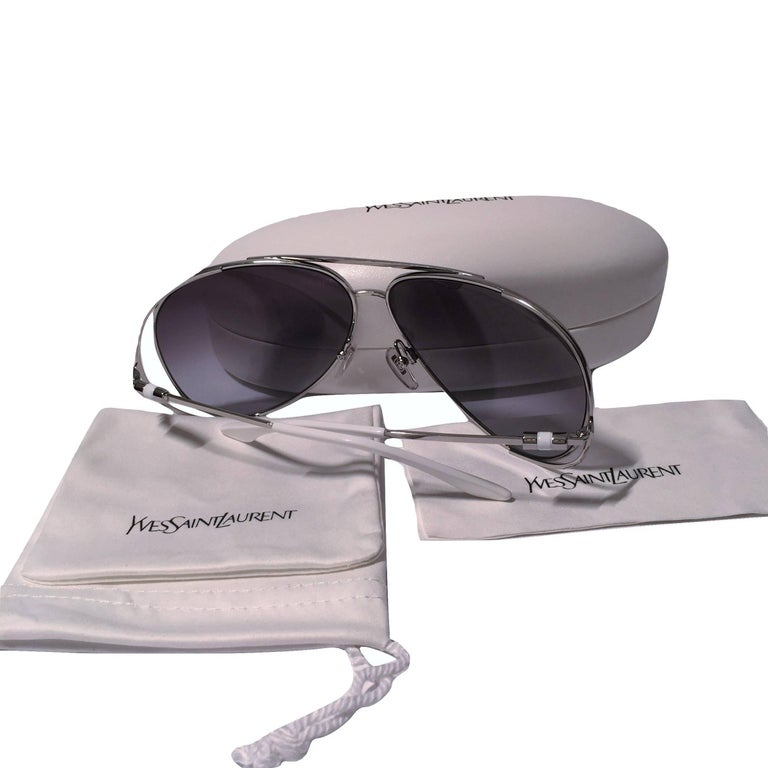 New Yves Saint Laurent YSL Aviator Sunglasses  With Case For Sale 2
