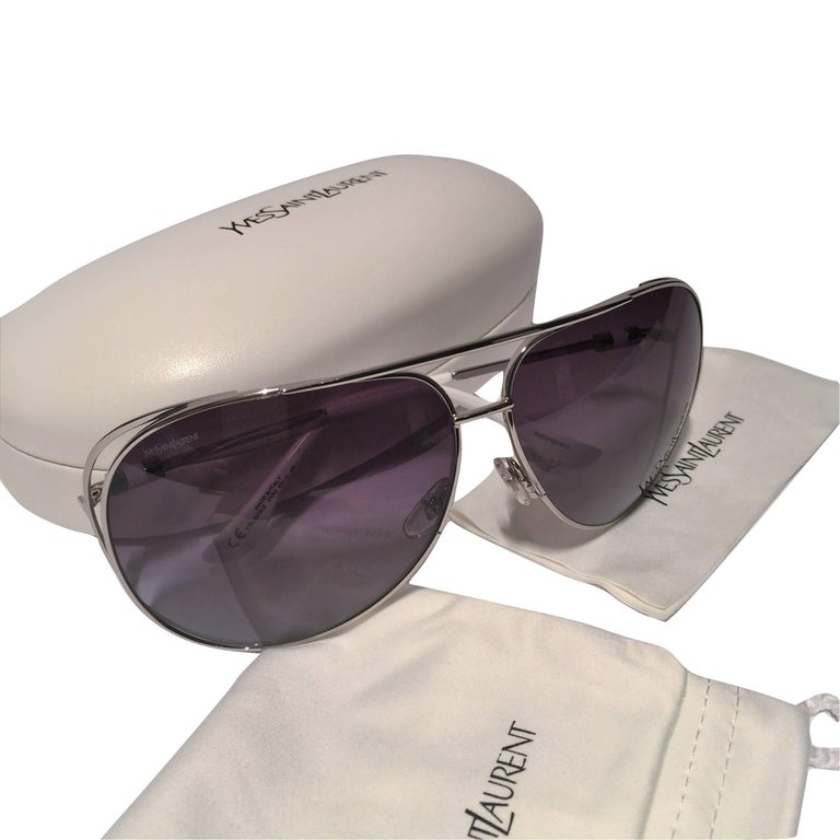 New Yves Saint Laurent YSL Aviator Sunglasses  With Case For Sale 3