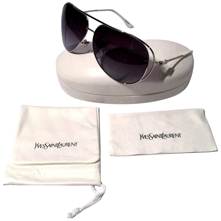 Yves Saint Laurent Sunglasses Brand New *Stunning in Silver Aviator * Blue Gradient Lenses * Super Lightweight * White Sides * Made in Italy * 100% UVA/UVB Protection * Comes with Case, Cleaning Cloth & Cloth Extra Case