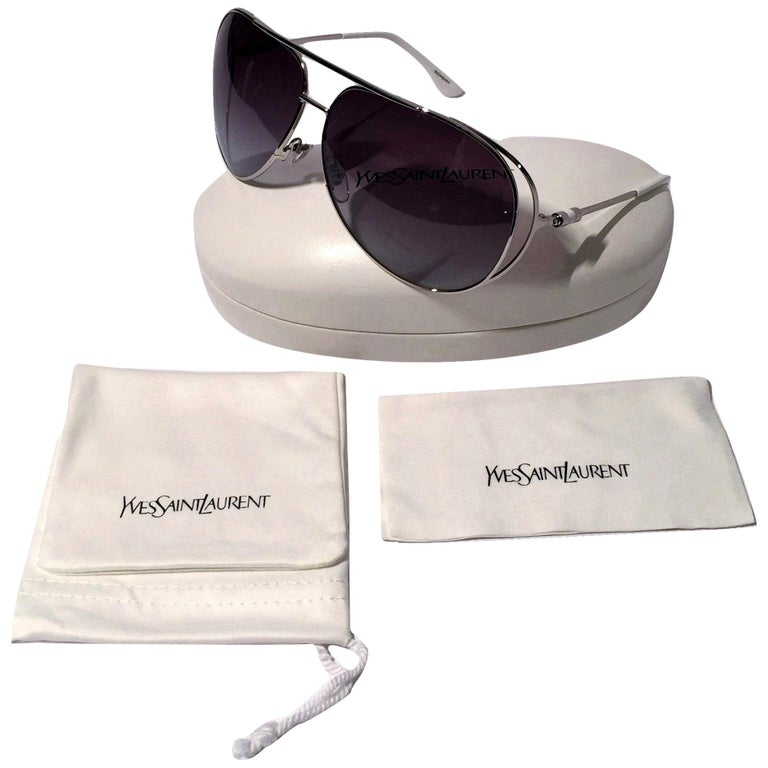 New Yves Saint Laurent YSL Aviator Sunglasses  With Case For Sale