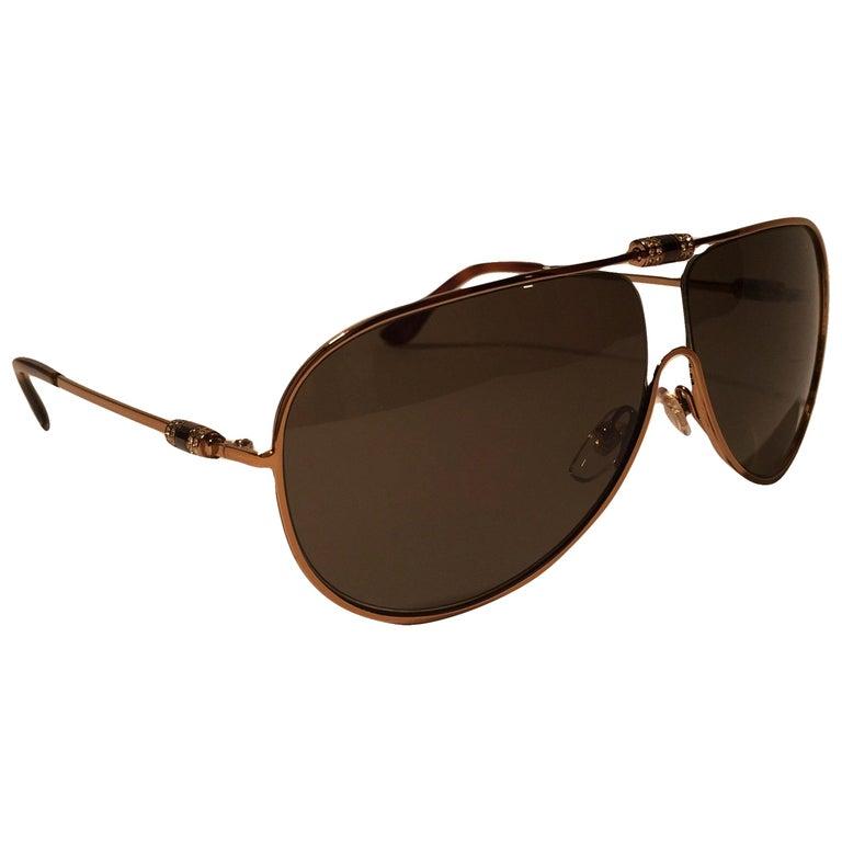 New Yves Saint Laurent YSL Aviator Swarovski Crystal Sunglasses With Case For Sale