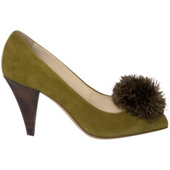 New Yves Saint Laurent YSL Avocado Heels Suede Pumps Sz 39