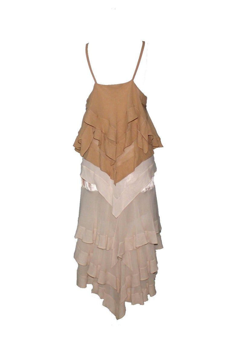 Brown NEW Yves Saint Laurent YSL by Tom Ford Spring 2004 Layered Silk Dress For Sale