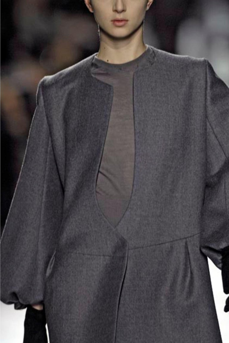 New Yves Saint Laurent  F/W 2007 Runway Wool Cashmere Coat Dress Sz 40 For Sale 4