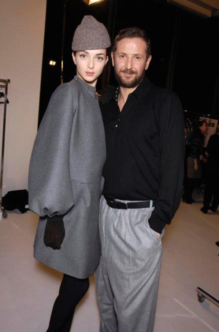 Black New Yves Saint Laurent  F/W 2007 Runway Wool Cashmere Coat Dress Sz 40 For Sale