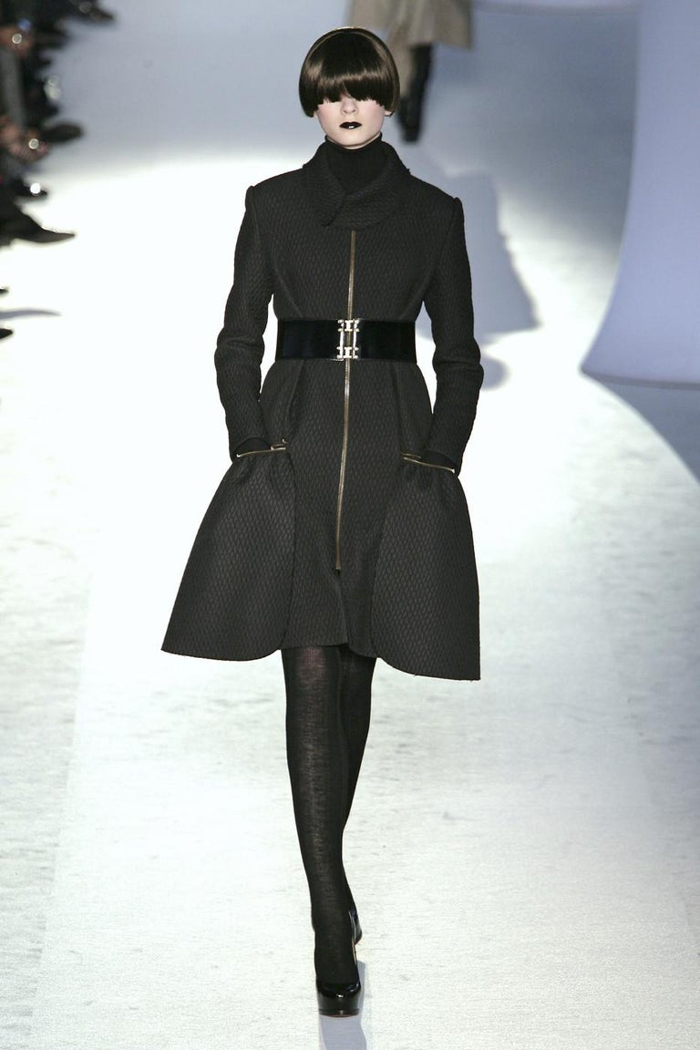 New Yves Saint Laurent YSL F/W 2008 Runway Naomi Campbell Quilted Coat Sz Fr38  For Sale 14