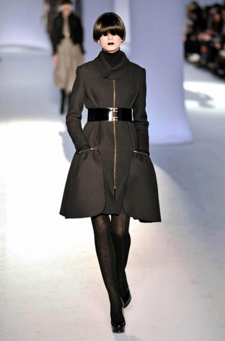 Black New Yves Saint Laurent YSL F/W 2008 Runway Naomi Campbell Quilted Coat Sz Fr38  For Sale