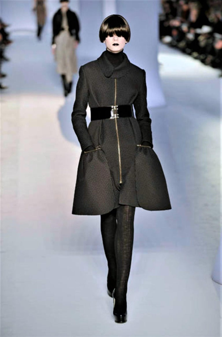 Women's New Yves Saint Laurent YSL F/W 2008 Runway Naomi Campbell Quilted Coat Sz Fr38  For Sale