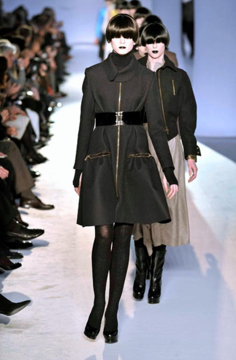 New Yves Saint Laurent YSL F/W 2008 Runway Naomi Campbell Quilted Coat Sz Fr38  For Sale 7