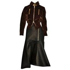New Yves Saint Laurent YSL F/W 2008 Runway Heavy Wool Skirt Sz Fr38