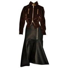 New Yves Saint Laurent YSL F/W 2008 Runway Heavy Wool Skirt & Jacket Set