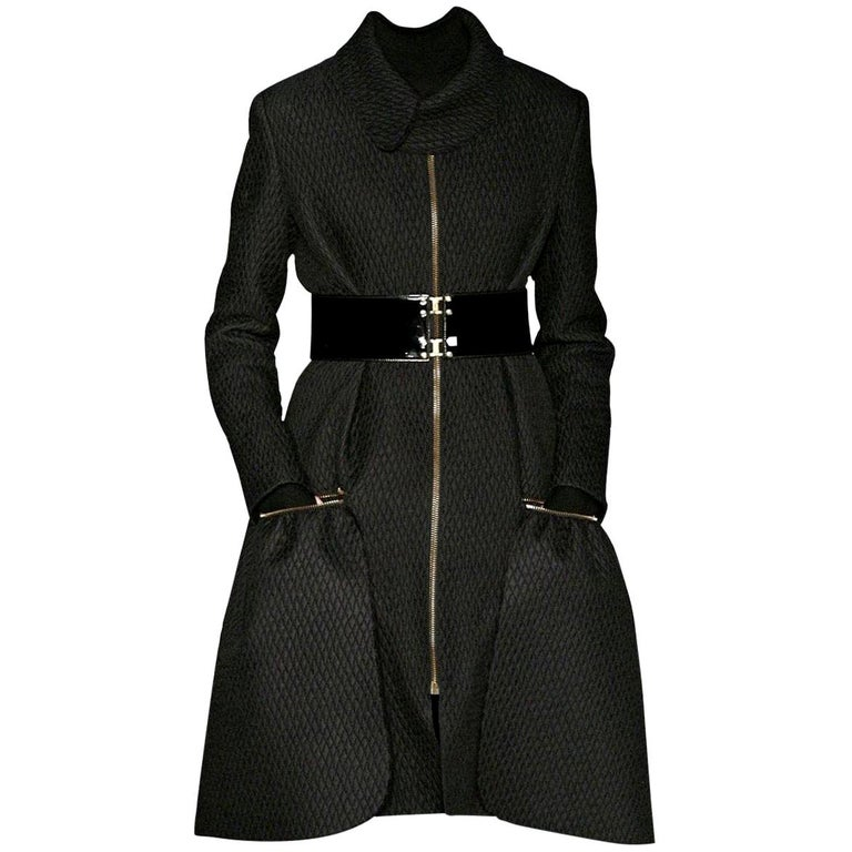 New Yves Saint Laurent YSL F/W 2008 Runway Naomi Campbell Quilted Coat Sz Fr38  For Sale