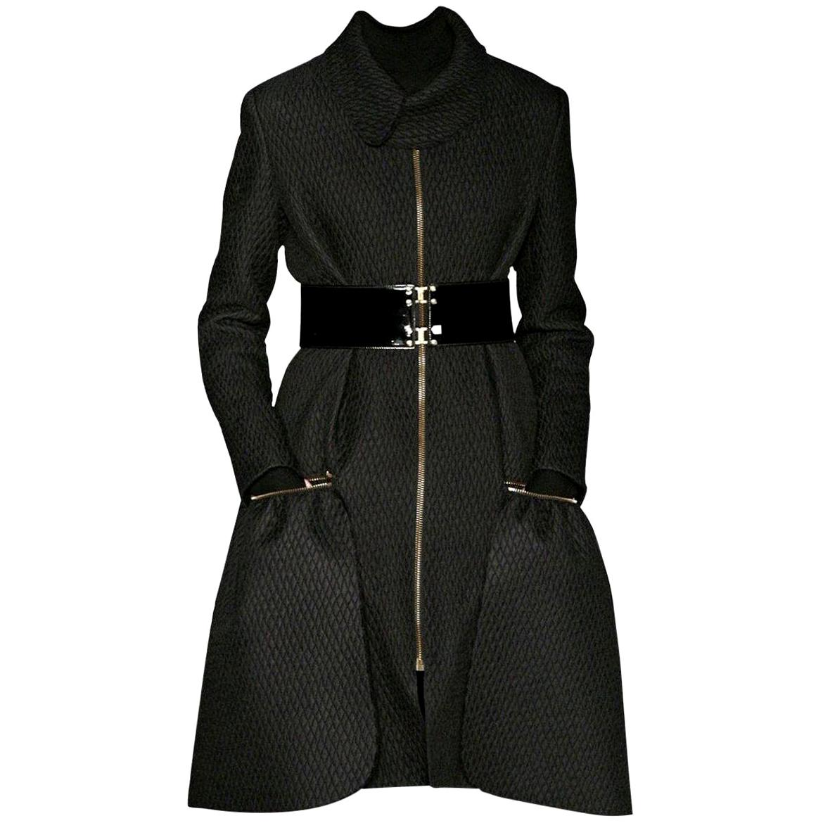 New Yves Saint Laurent YSL F/W 2008 Runway Naomi Campbell Quilted Coat Sz Fr40