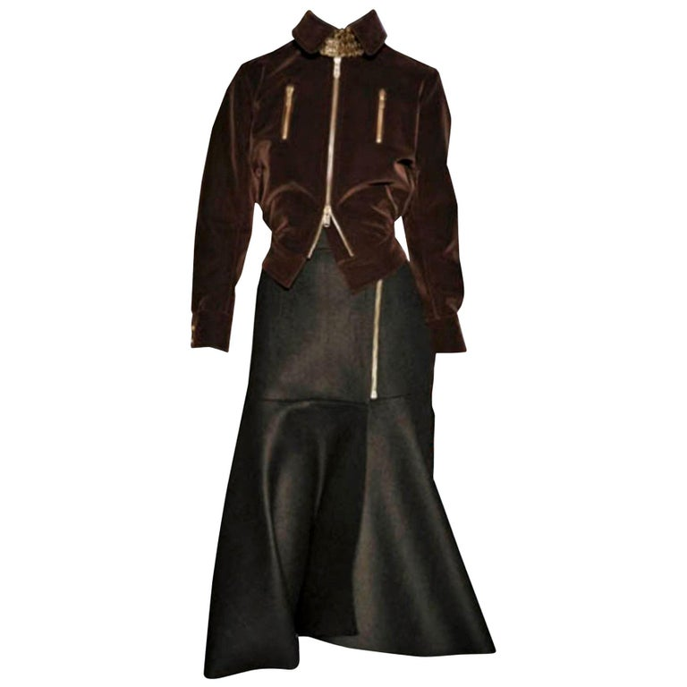 New Yves Saint Laurent YSL F/W 2008 Runway Heavy Wool Skirt Sz Fr42 For Sale