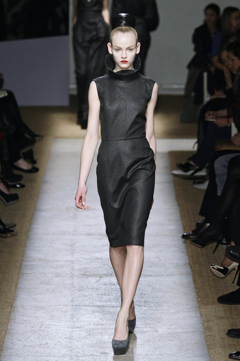 Yves Saint Laurent Fall Winter 2009 Brand New Without Tags $2150 Butter Soft Runway Wool Lurex Dress FR42  Roughly U.S.  6 Charcoal & Metallic Lurex  Zips Up the Back Hook and Eye Neck Fully Lined  Bust: 34