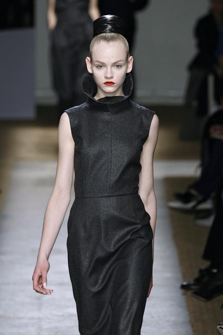Black New Yves Saint Laurent YSL F/W 2009 Runway Wool Lurex Dress Sz FR42 For Sale