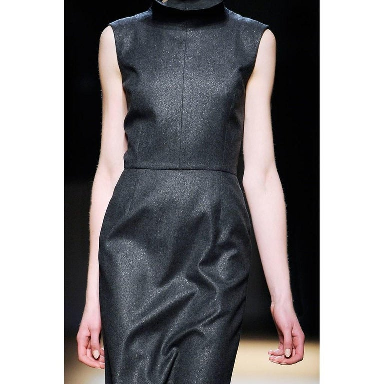 New Yves Saint Laurent YSL F/W 2009 Runway Wool Lurex Dress Sz FR42 For Sale 3