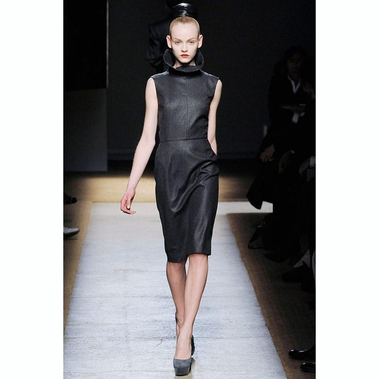 New Yves Saint Laurent YSL F/W 2009 Runway Wool Lurex Dress Sz FR42 For Sale 4