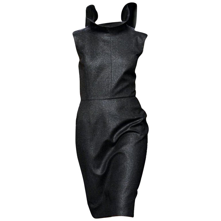 New Yves Saint Laurent YSL F/W 2009 Runway Wool Lurex Dress Sz FR42 For Sale
