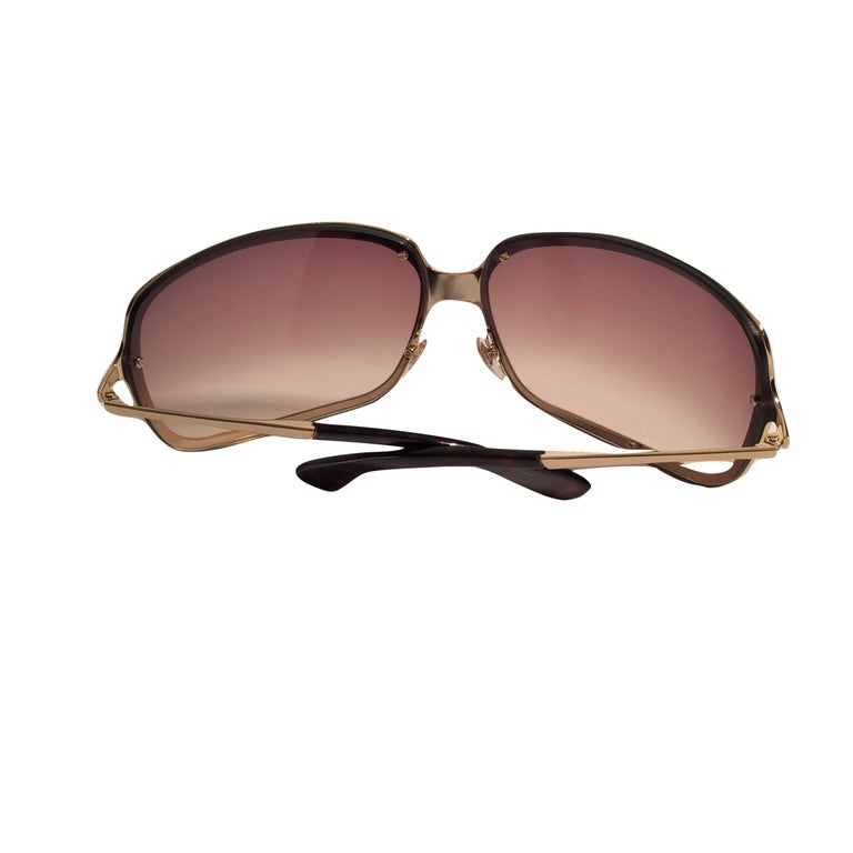 New Yves Saint Laurent YSL Gold Wrap Sunglasses W/ Case For Sale 6