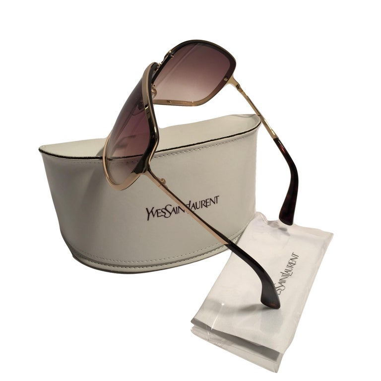 Gray New Yves Saint Laurent YSL Gold Wrap Sunglasses W/ Case For Sale