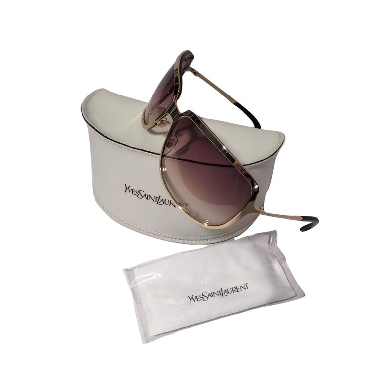 Women's New Yves Saint Laurent YSL Gold Wrap Sunglasses W/ Case For Sale