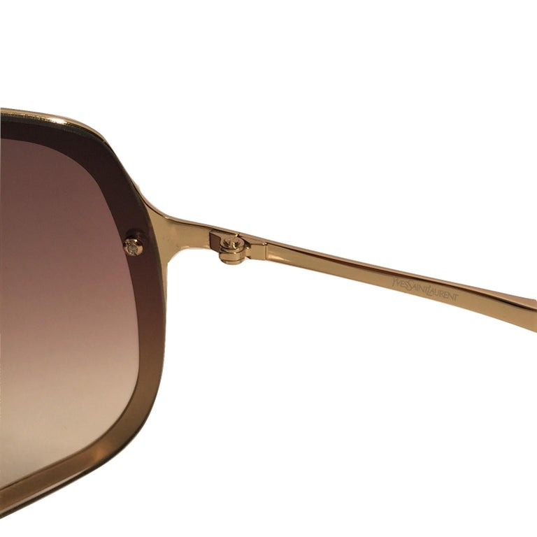 New Yves Saint Laurent YSL Gold Wrap Sunglasses W/ Case For Sale 2