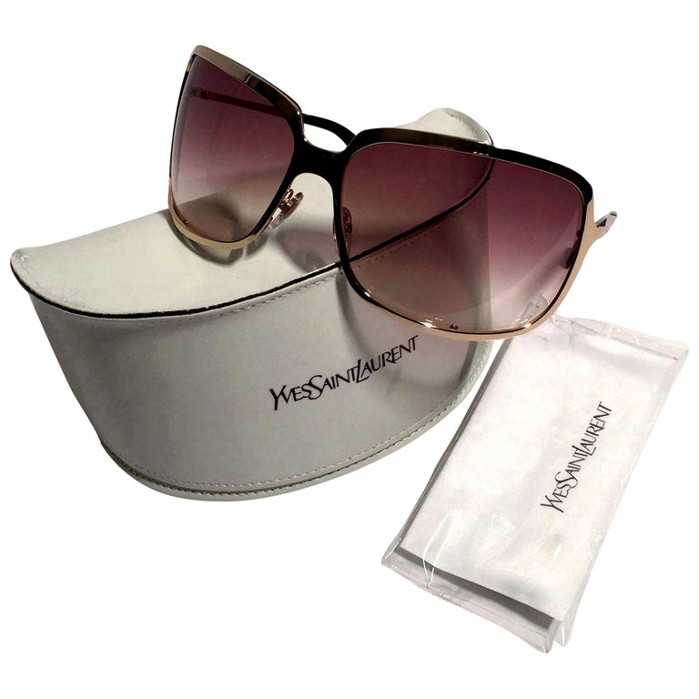 New Yves Saint Laurent YSL Gold Wrap Sunglasses W/ Case For Sale