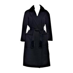 New Yves Saint Laurent YSL Pre-Fall 2009 Heavy Wool & Mink Coat Sz FR40