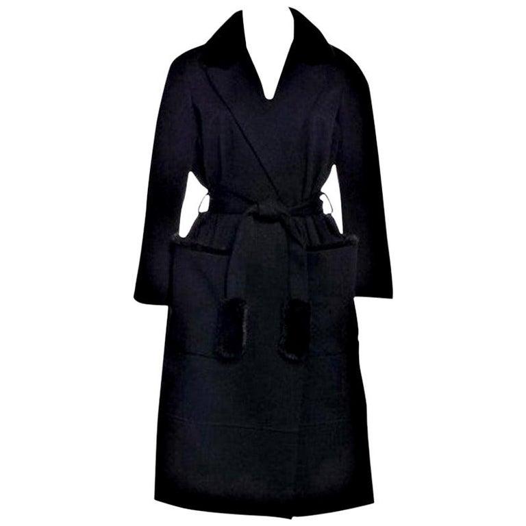 New Yves Saint Laurent YSL Pre-Fall 2009 Heavy Wool & Mink Coat Sz FR40  For Sale