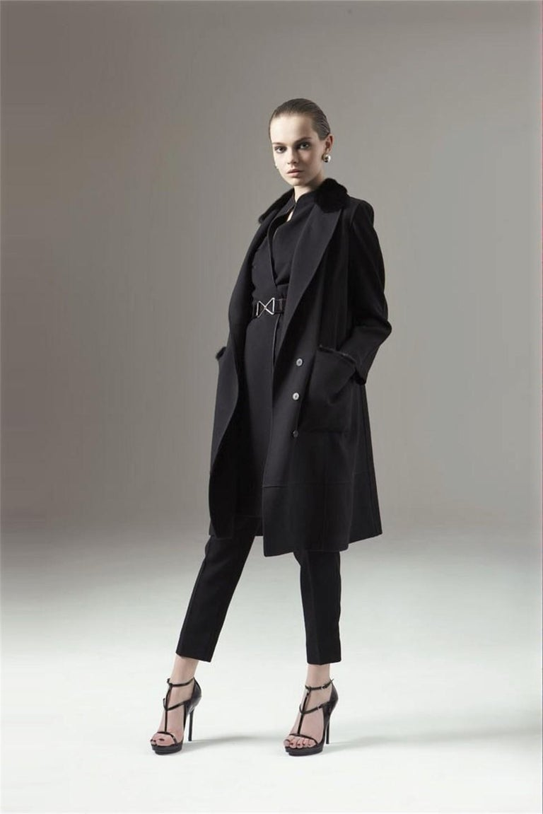 Yves Saint Laurent Pre-Fall 2009 Brand New Without Tags $4450 Black Wool Mid/Long Coat FR40  Roughly U.S.  6 Mink Collar, Mink Trim on Pockets & Mink Trimmed Belted Tie Two Front Large Pockets Button and Sash Tie Closure  Bust: 45