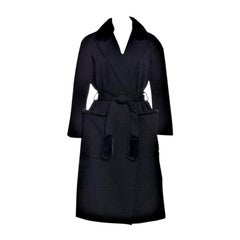 New Yves Saint Laurent YSL Pre-Fall 2009 Heavy Wool & Mink Coat Sz FR40 U.S 6/8