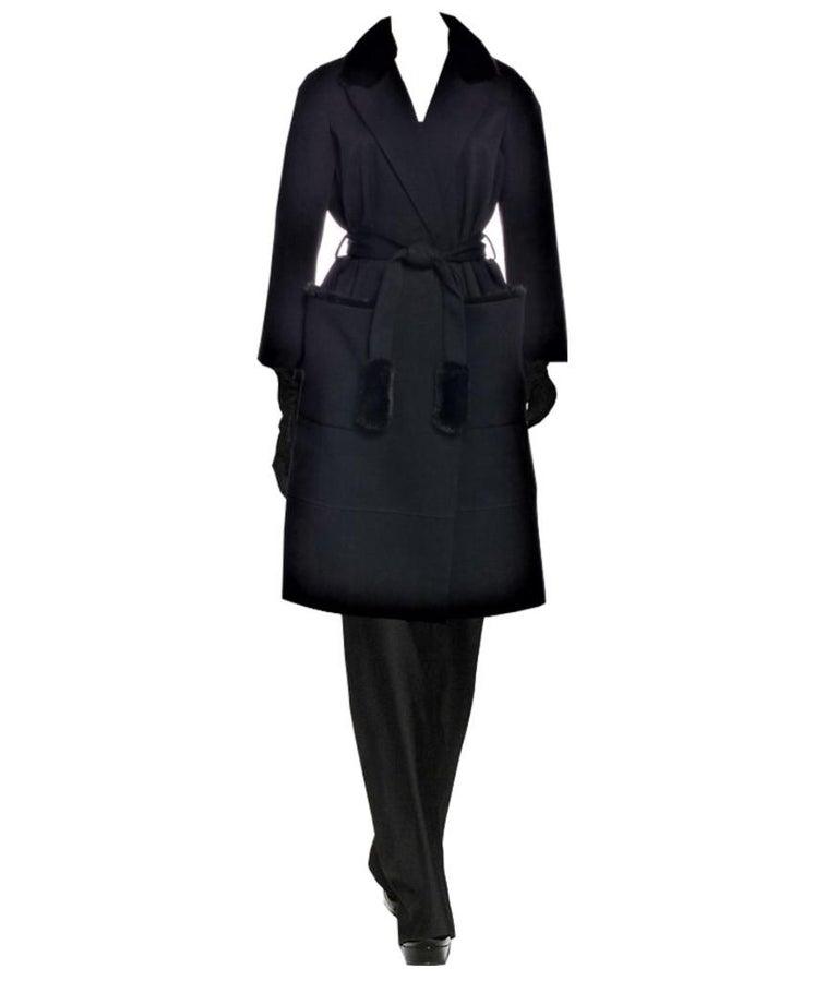 Black New Yves Saint Laurent YSL Pre-Fall 2009 Heavy Wool & Mink Coat Sz FR40  For Sale